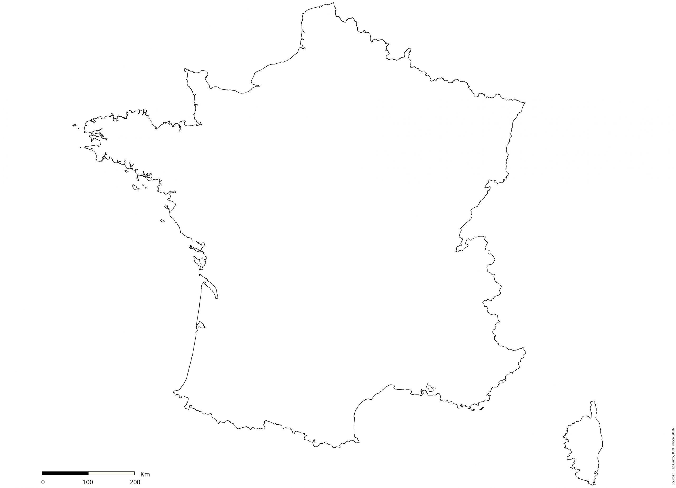 France-Contours-Vierge-Echelle - Cap Carto serapportantà Carte Vierge De La France