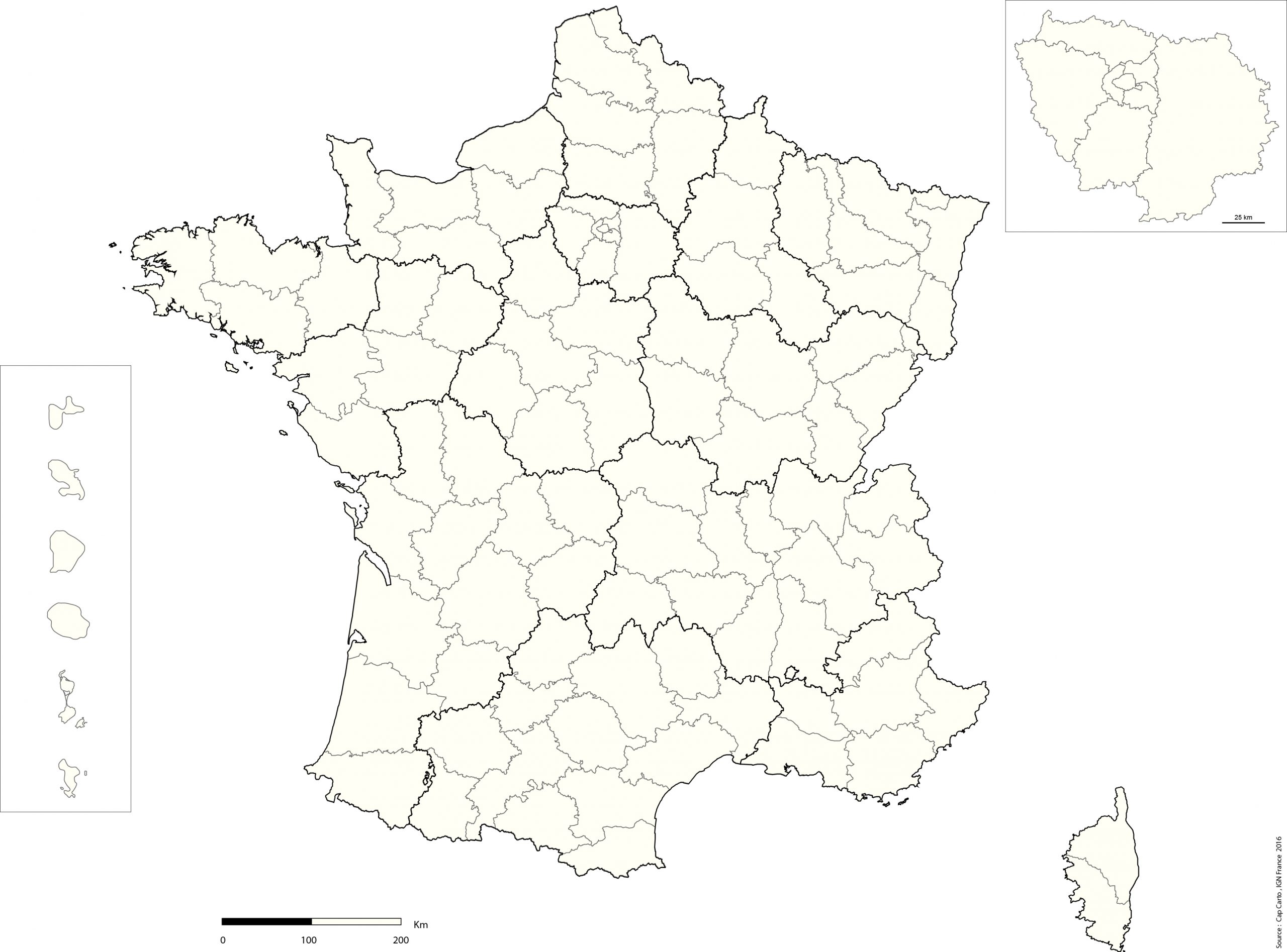 France-Departement-Echelle-Reg-Vierge - Cap Carto dedans Plan De La France Par Departement