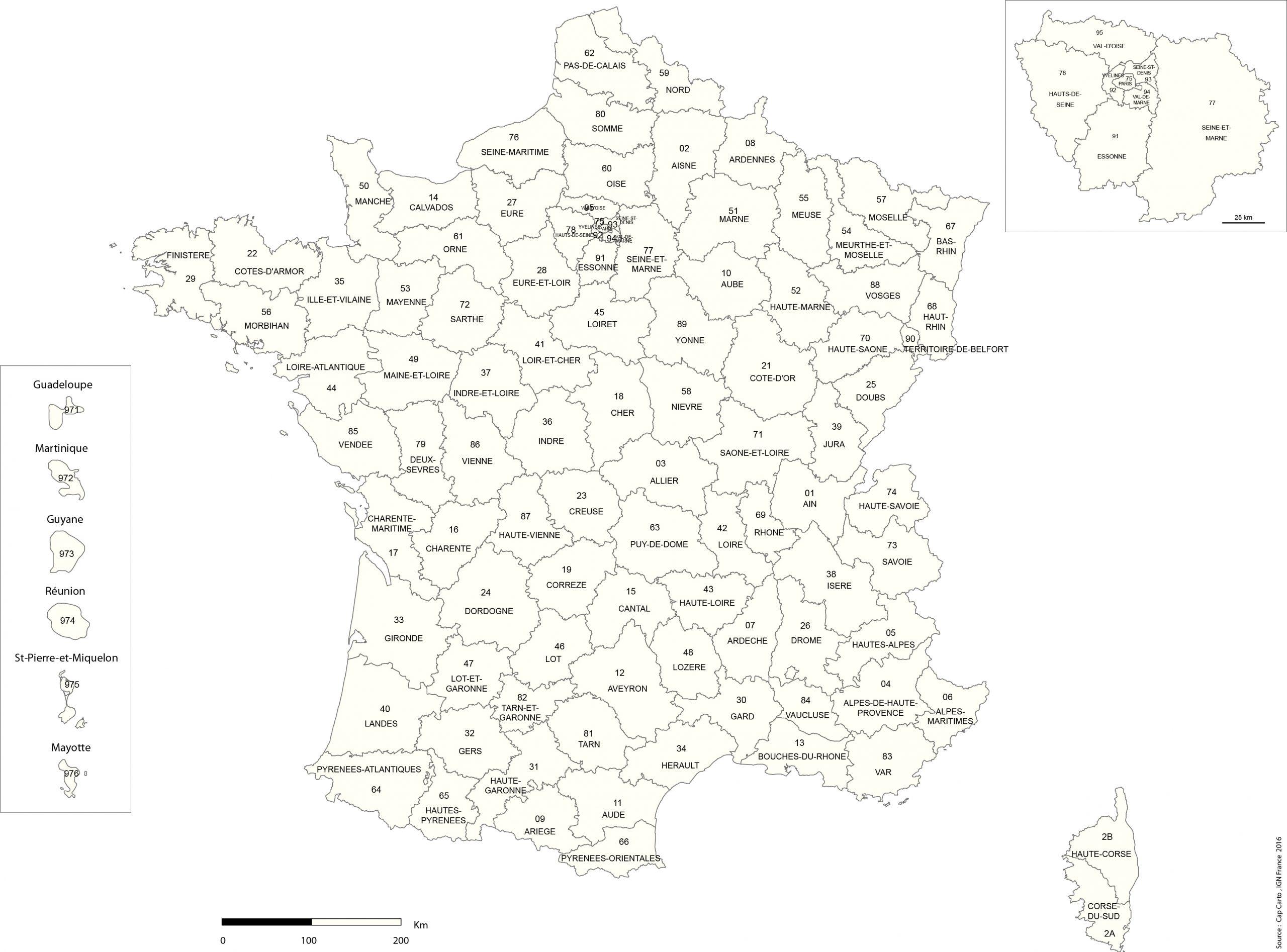 France-Departement-Numero-Noms-Reg-Echelle-Vierge - Cap Carto dedans Carte Département Vierge