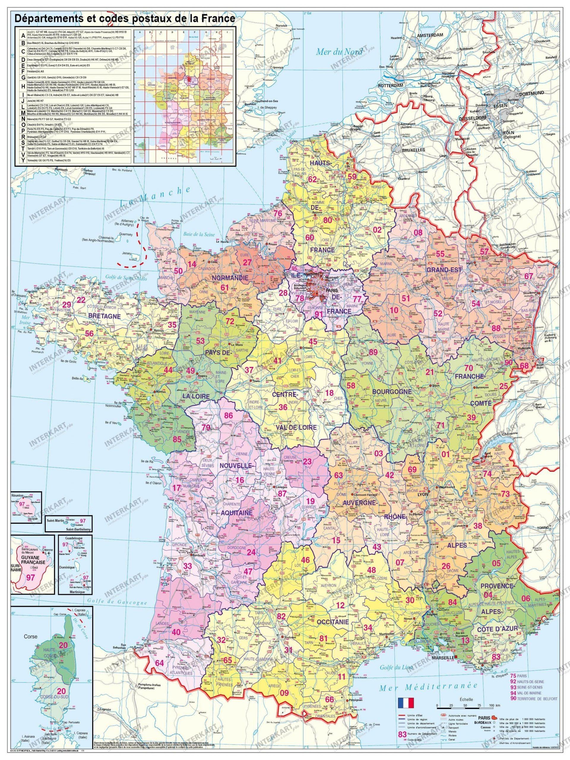France Departement Wall Map concernant Région Et Département France