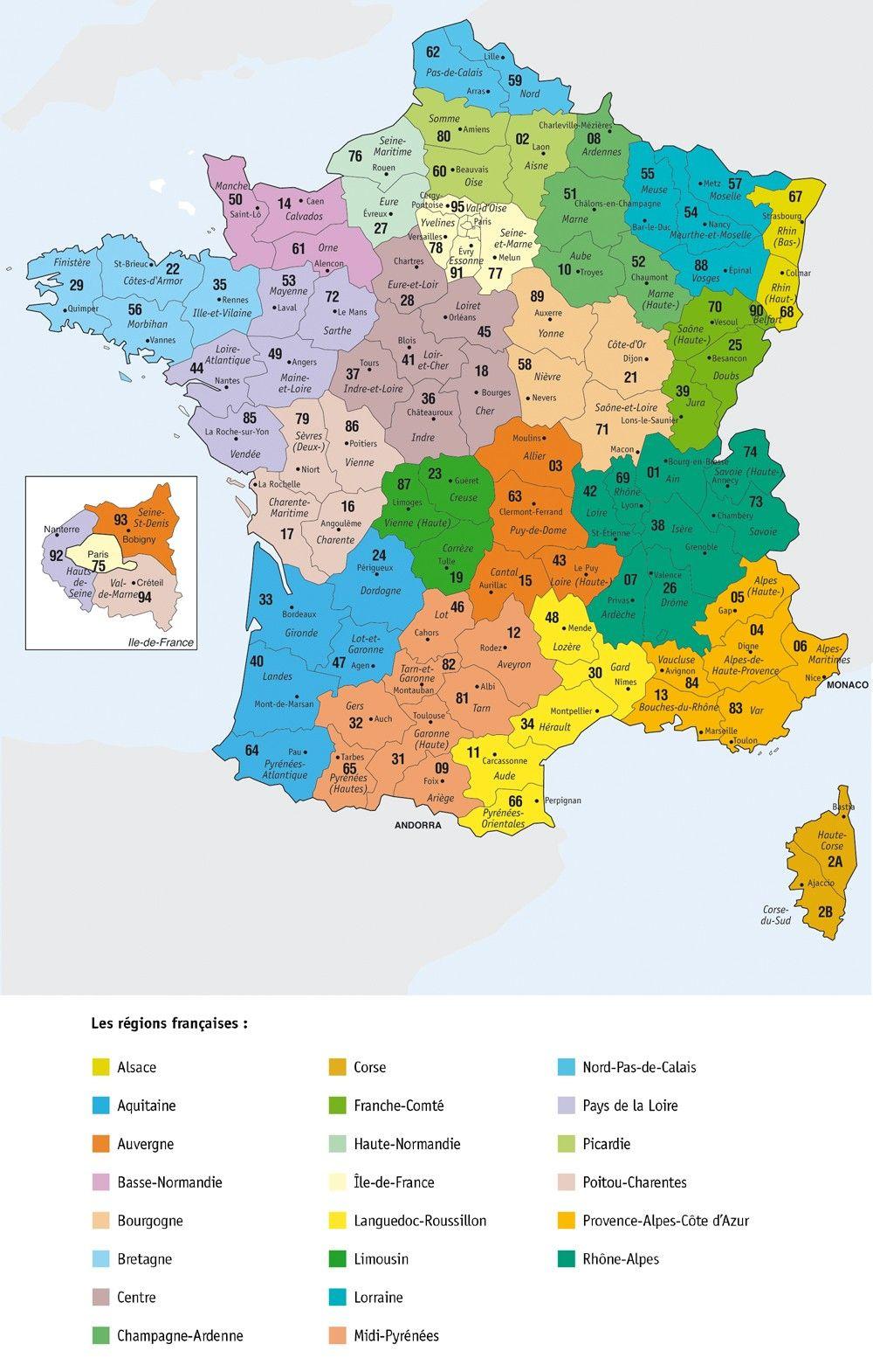 France, Départements. | Carte De France Région, Carte De tout Région Et Département France