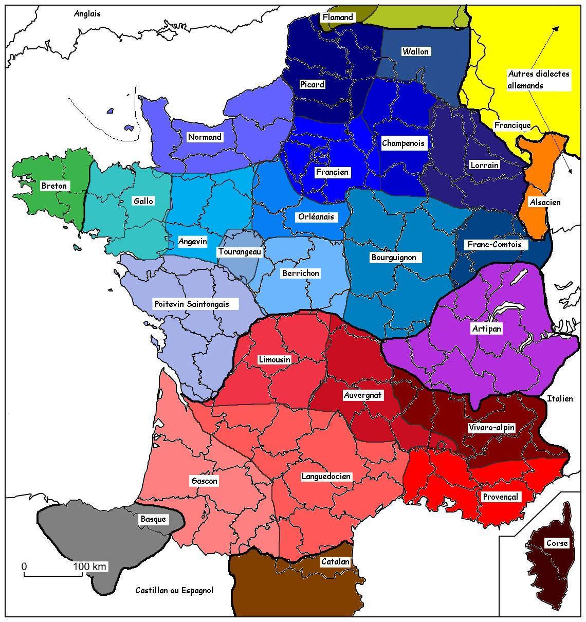 France-Dialectes-Carte-Des-Dialectes-Français-Flamand-Wallon pour Mappe De France