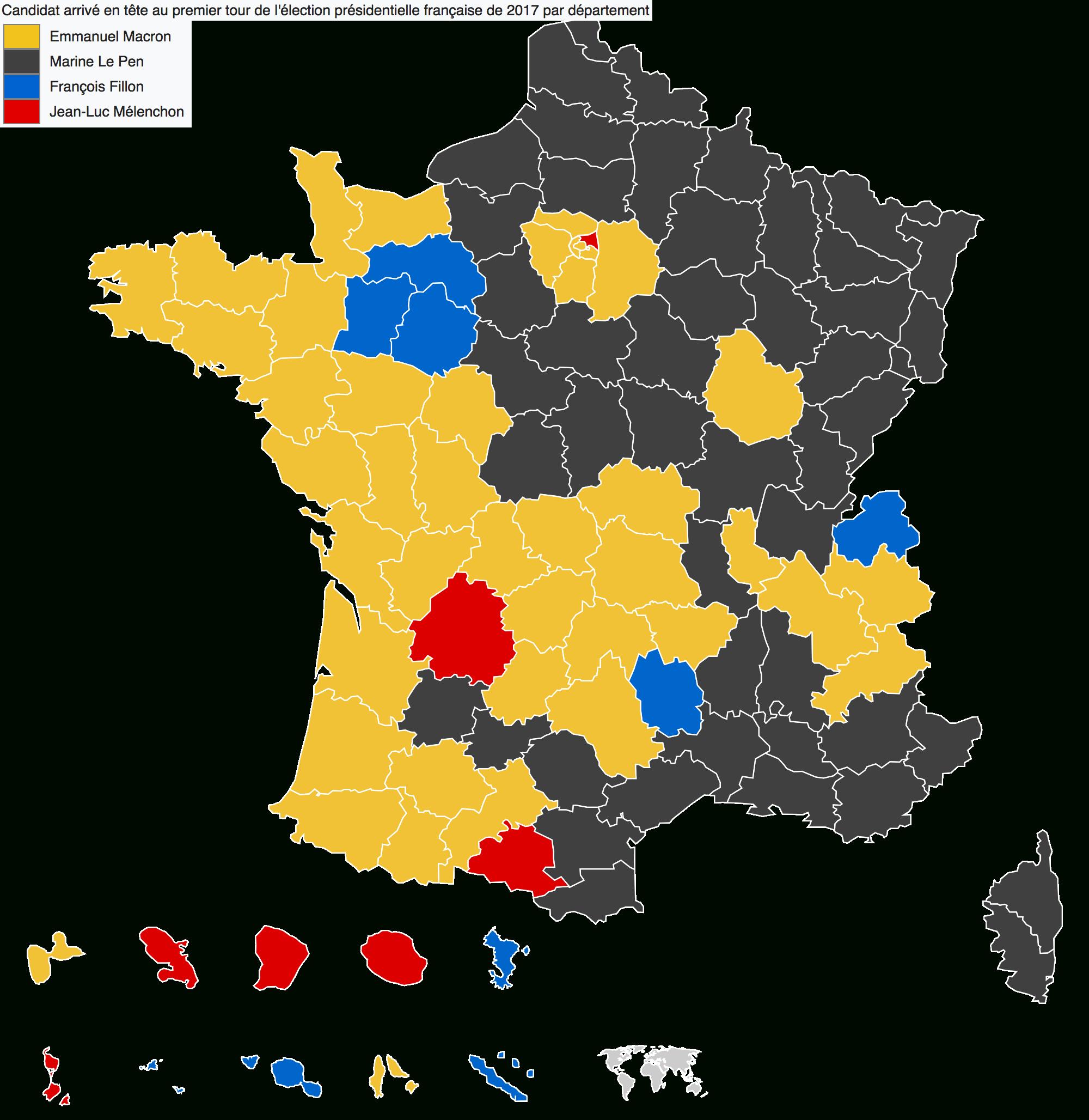 France Entière – Élections Présidentielles 2017 : Résultats pour Carte Des Départements De France 2017