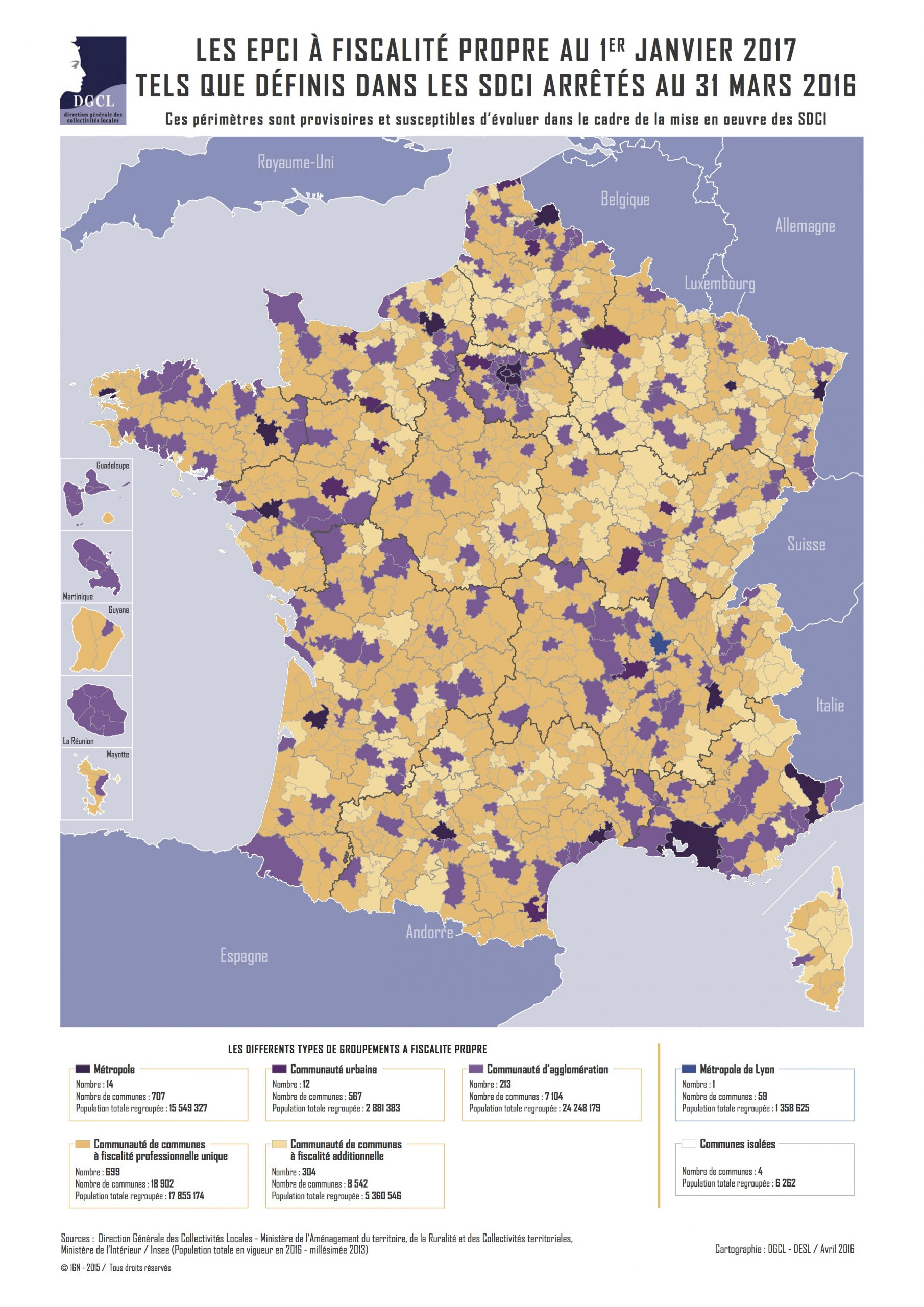 France - Epci (2017) • Carte • Populationdata avec Carte Des Départements De France 2017