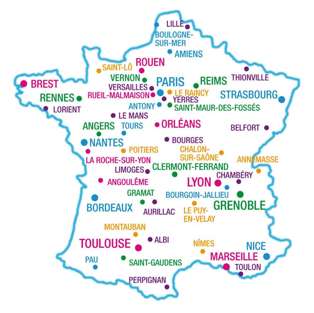 France Géographie à Carte France Vierge Villes