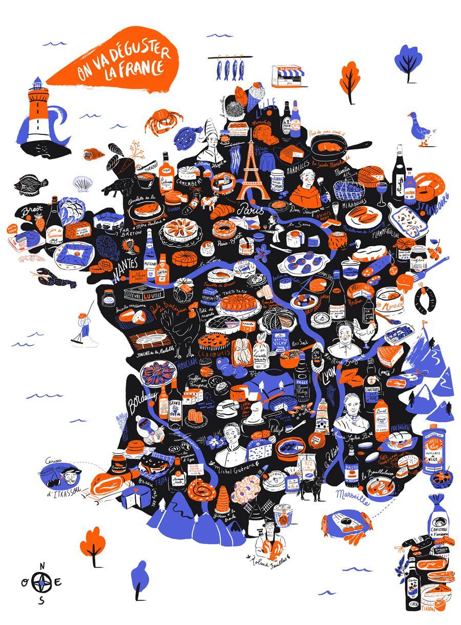 """France Map/carte """"On Va Déguster"""" (2018) By Aurore Carrie pour Mappe De France"""