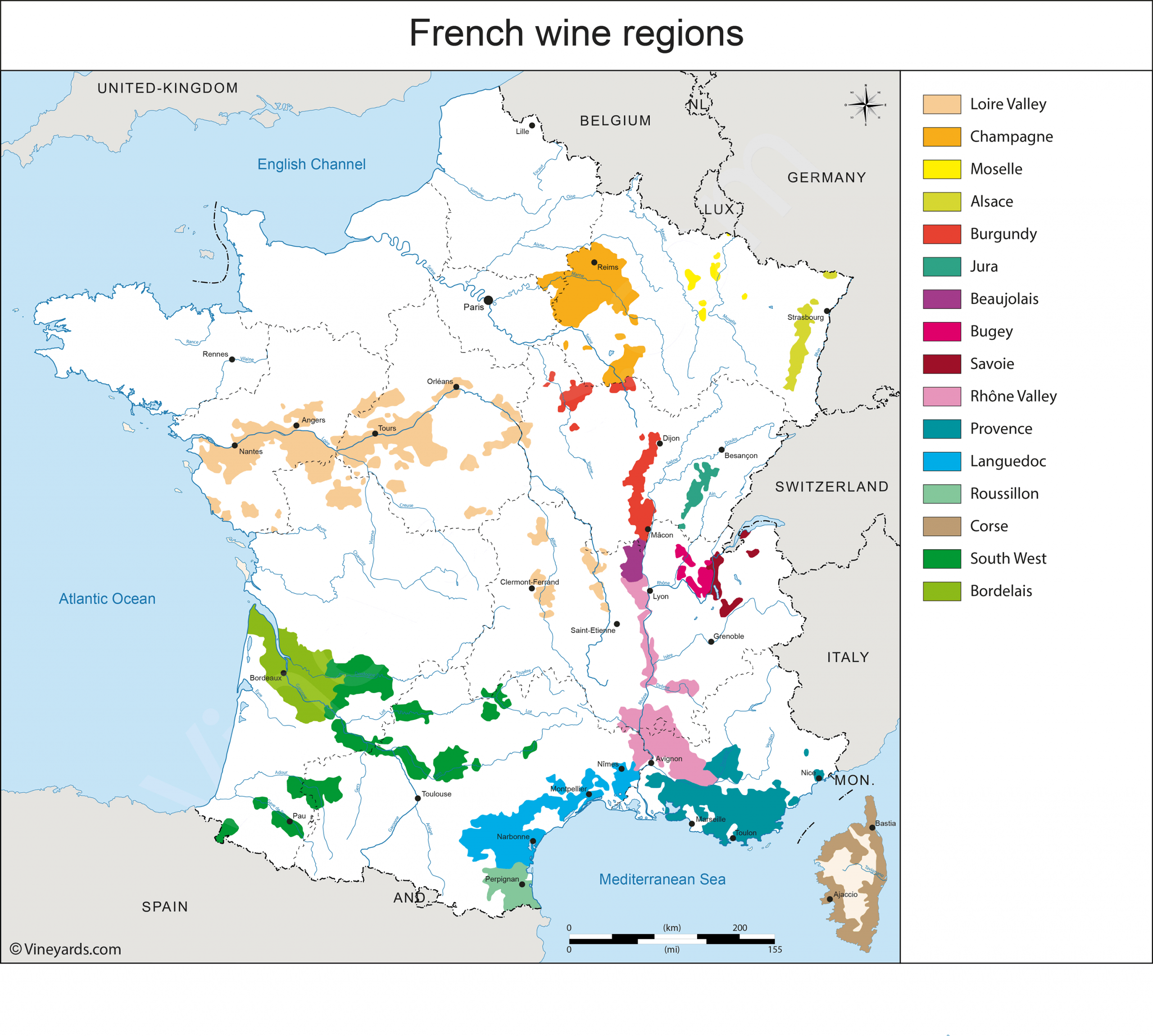 France Map Of Vineyards Wine Regions encequiconcerne Mappe De France