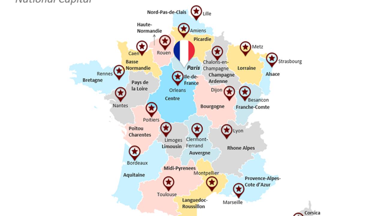 France Map pour Liste Region De France