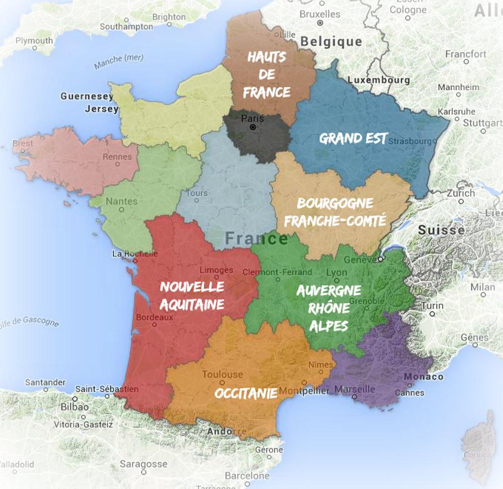 France-Monde | Les Nouveaux Noms Des Régions De France à Carte Des Régions De La France