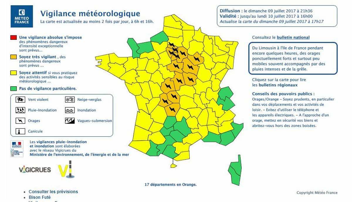 France-Monde | Orages : 17 Départements À Nouveau En Alerte intérieur Carte Des Départements De France 2017
