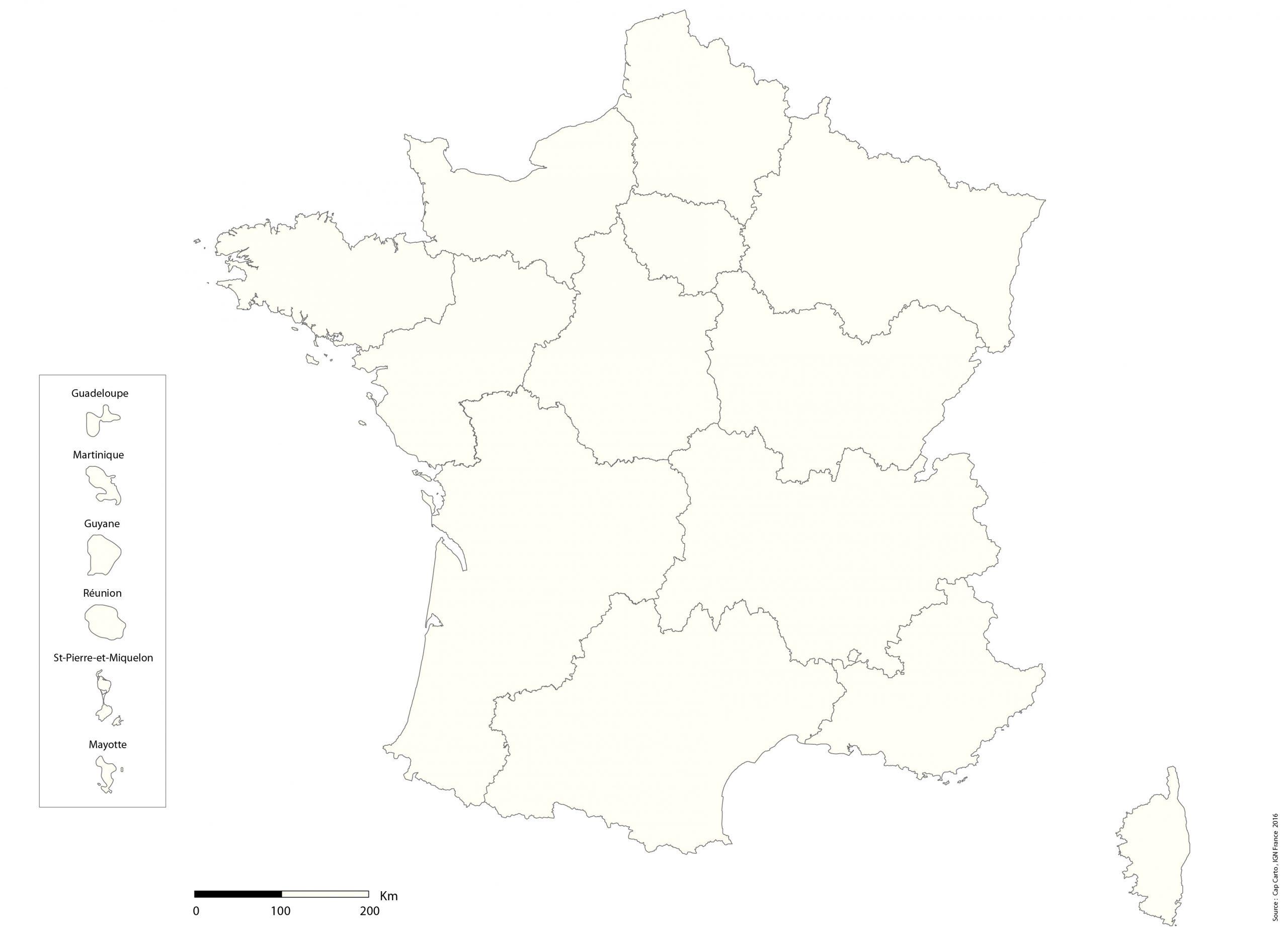 France-Region-Echelle-Vierge - Cap Carto encequiconcerne Carte Vierge De France