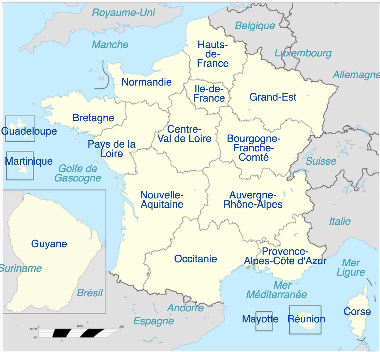 France - Régions • Map • Populationdata pour Carte De France Nouvelle Region