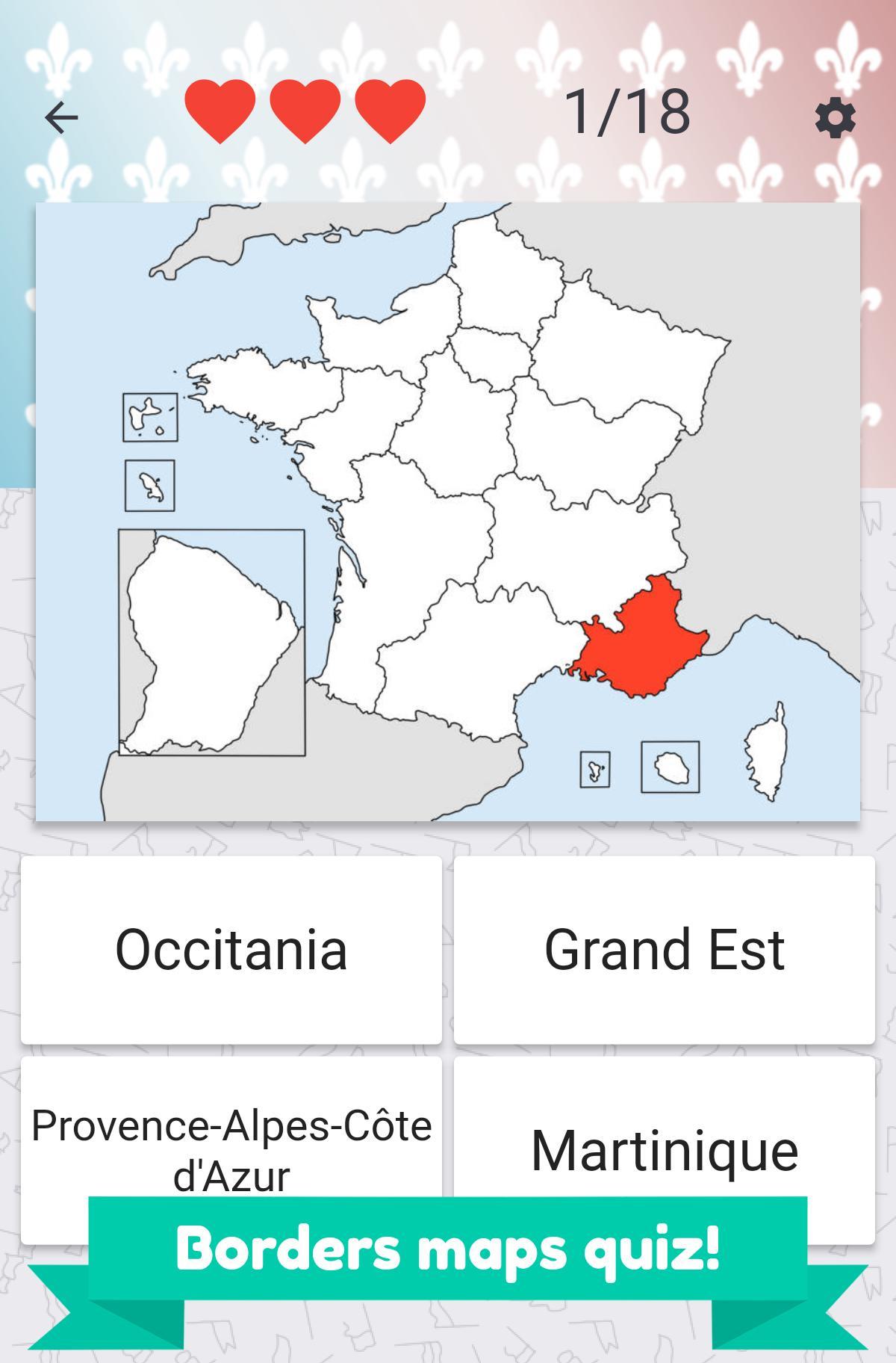 France Regions – Flags, Maps & Capitals For Android - Apk tout Quiz Régions De France