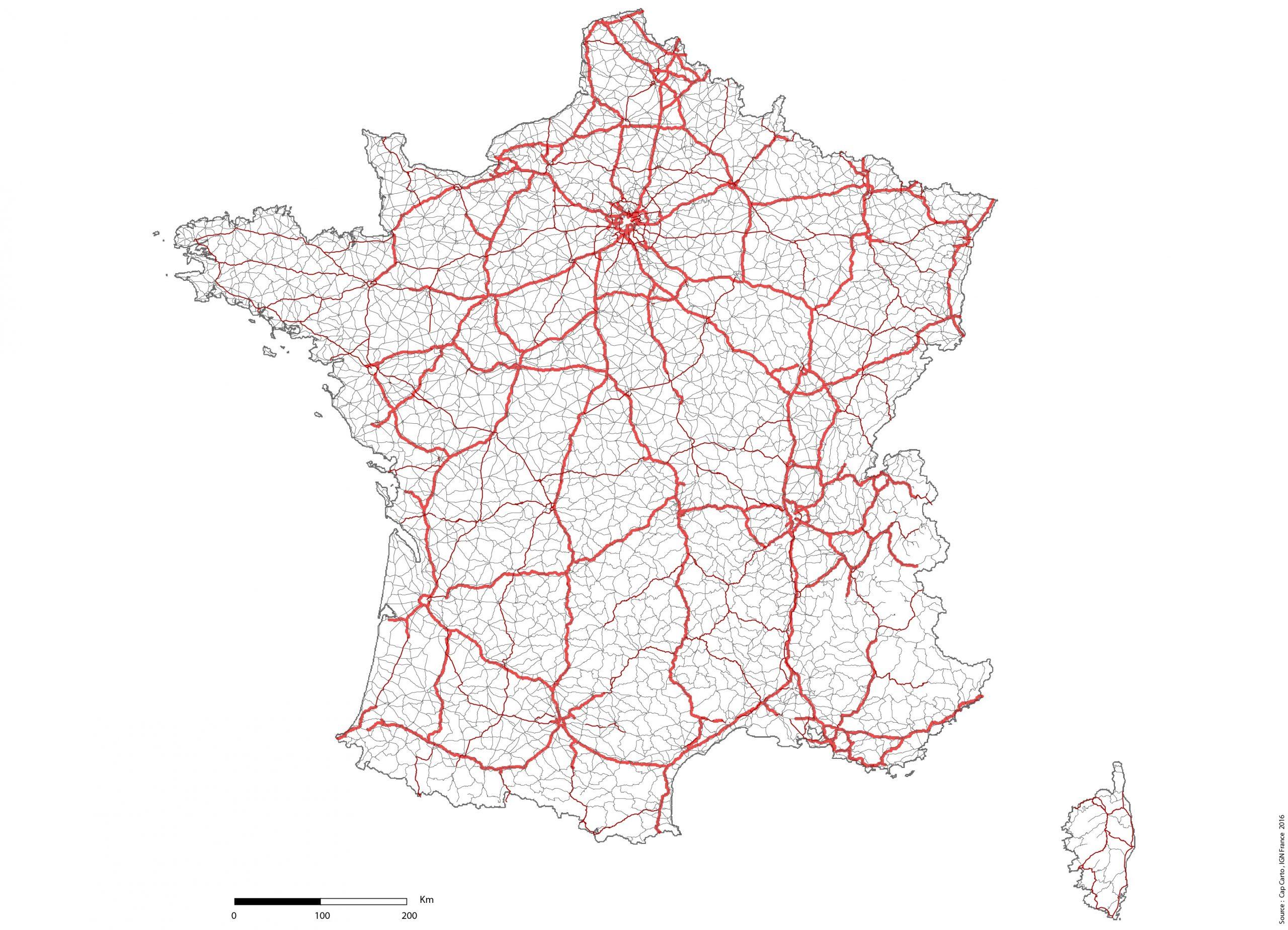France-Reseaux-Routier-Lambert93-Echelle - Cap Carto à Carte Vierge De France