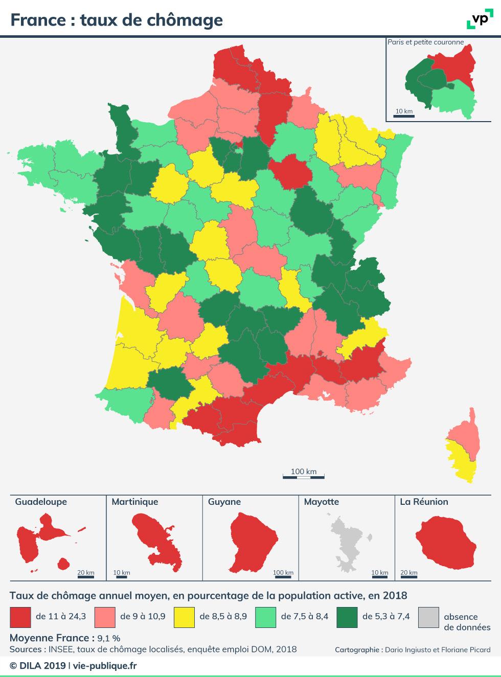 France : Taux De Chômage En 2018 | Vie Publique concernant Carte France D Outre Mer