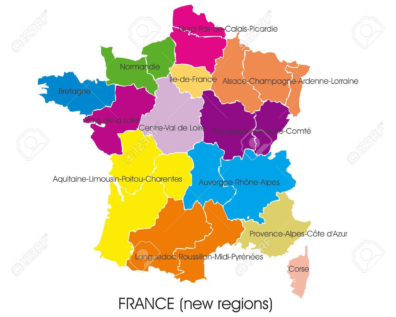France Vector Map, New Regions encequiconcerne Carte Nouvelles Régions De France