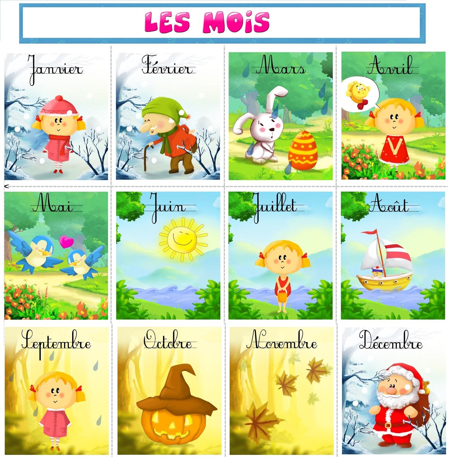 Francés-Eando: Les Saisons Et Les Mois De L'année pour Jeux Pour Apprendre Les Mois De L Année