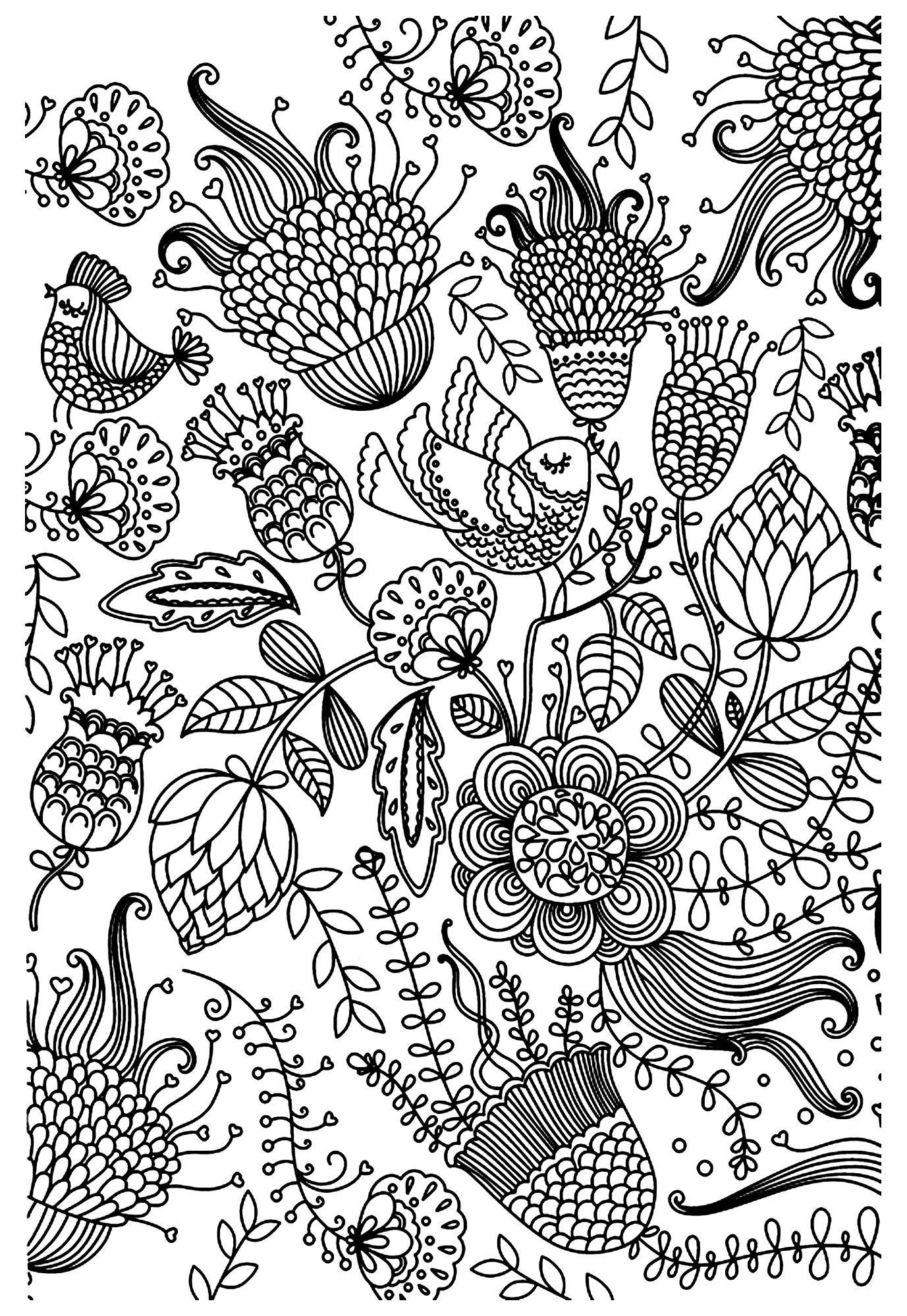 Free Coloring Page «Coloriage-Antistress-Oiseaux intérieur Jeux De Anti Stress