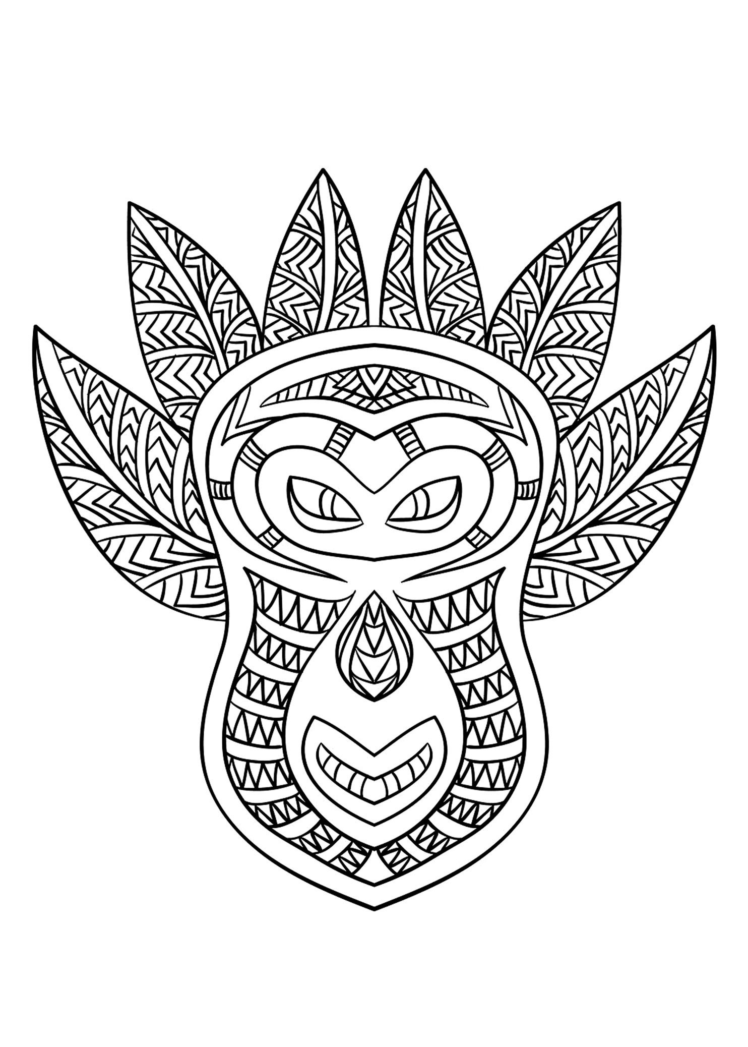 Free Coloring Page Coloring-Adult-African-Mask-6. Coloring concernant Dessin Africain A Colorier