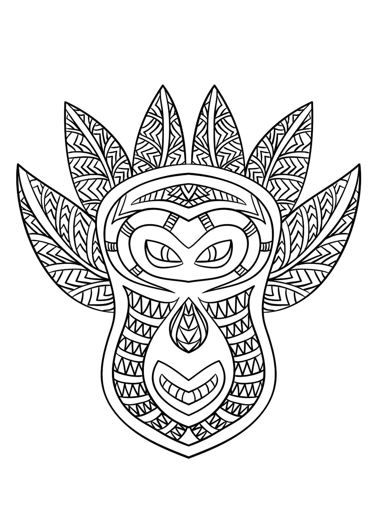 Free Coloring Page Coloring-Adult-African-Mask-6. Coloring destiné Coloriage Afrique À Imprimer