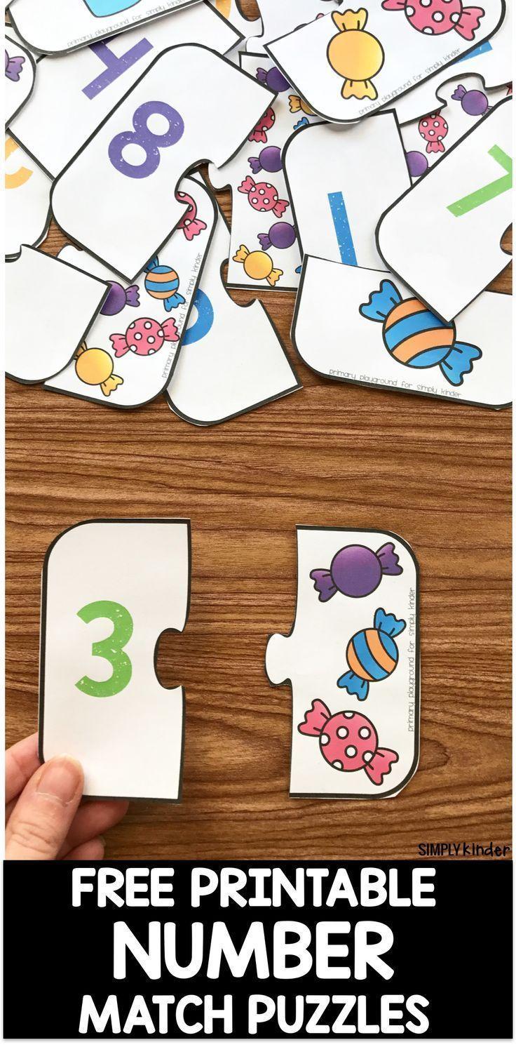 Free Printable Number Match Puzzles   Impressions Pour destiné Jeux Apprentissage Maternelle