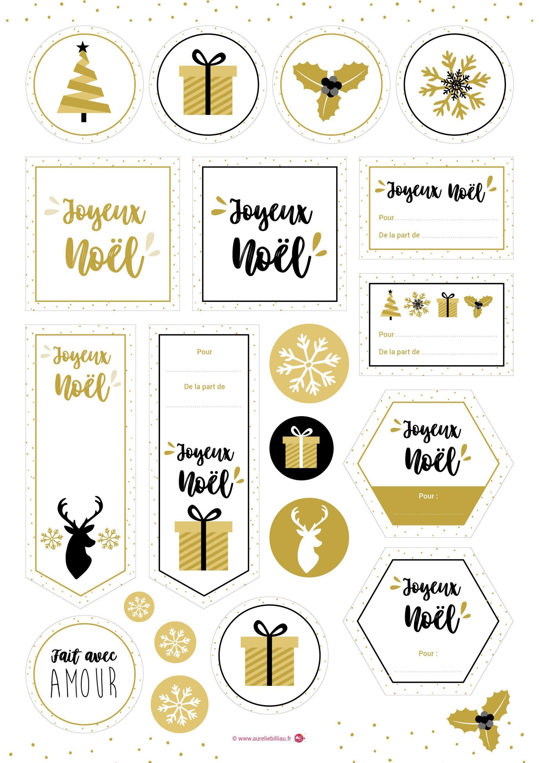 Freebies À Imprimer - Étiquettes Noël Gold - Une Création avec Etiquette Noel A Imprimer
