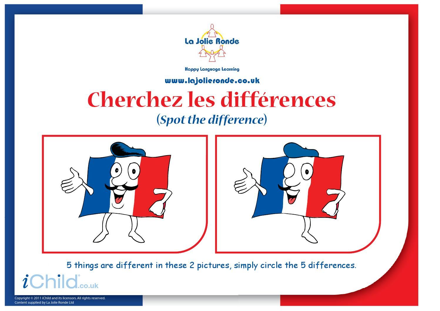 French Flag Spot The Difference(French Spot The Dif) By Tom tout Les 5 Differences