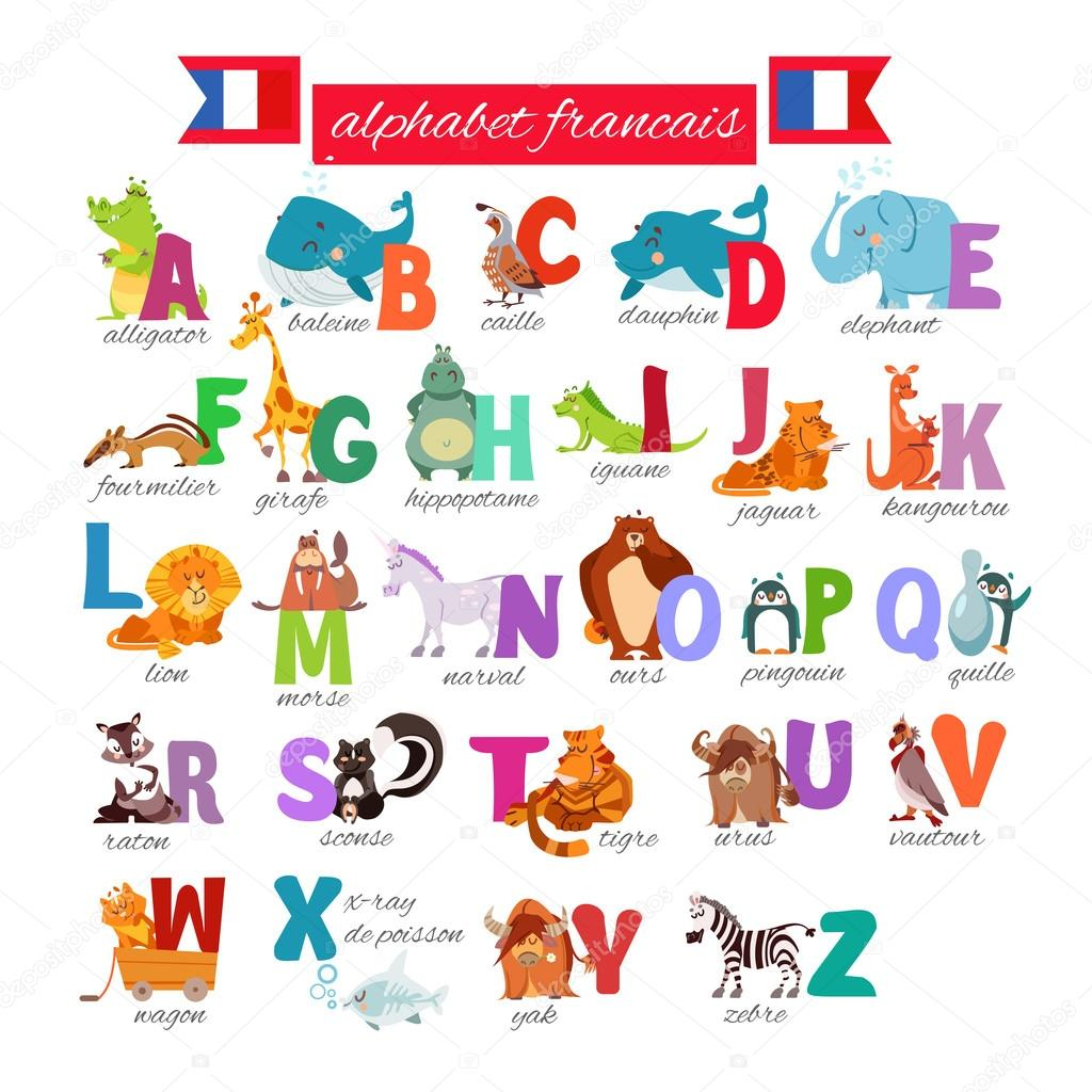 French Illustrated Alphabet With Animals — Stock Vector concernant Apprendre Alphabet Francais