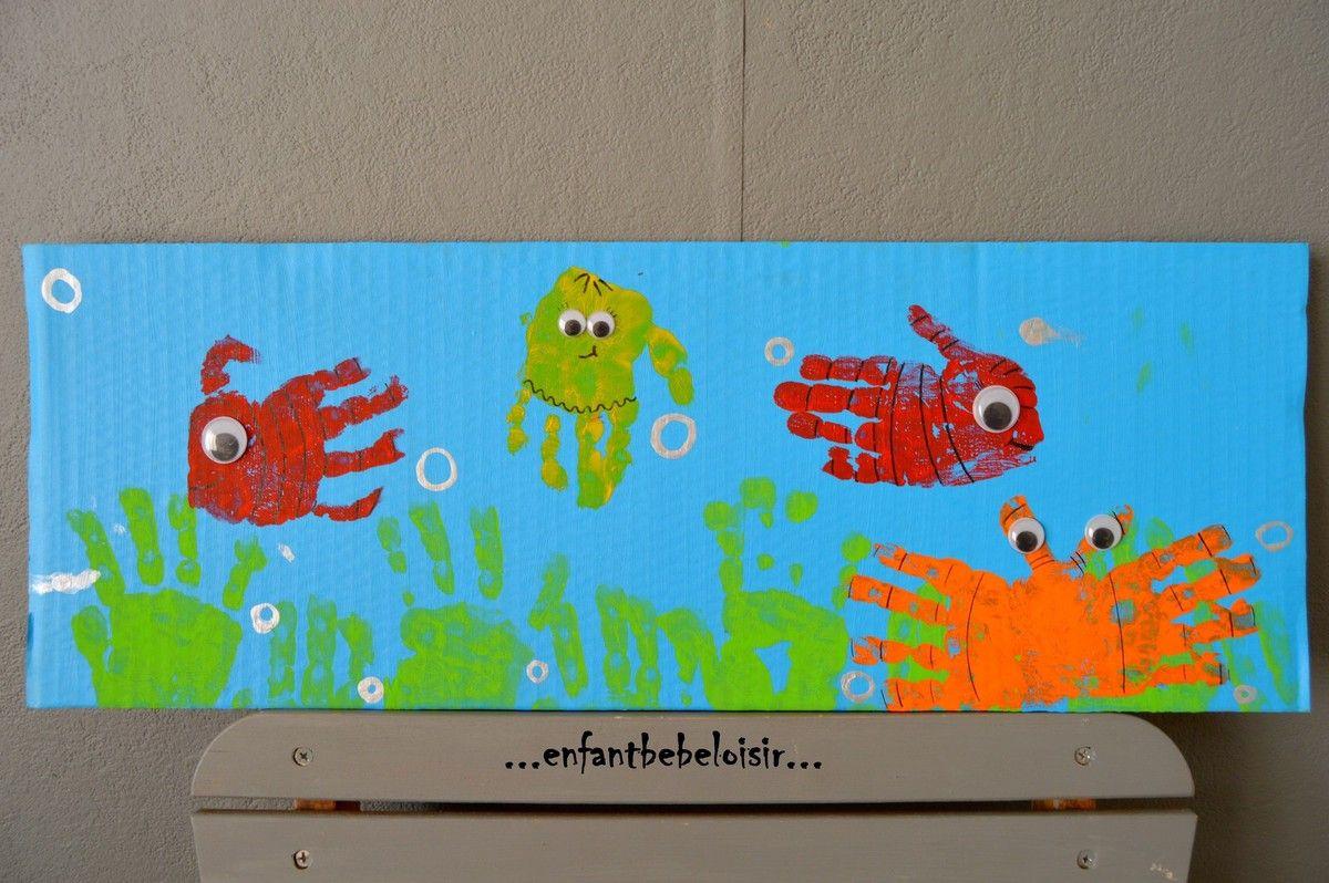 Fresque Aquarium - Peindre Avec L'empreintes Des Mains pour Activité Manuelle Enfant 4 Ans