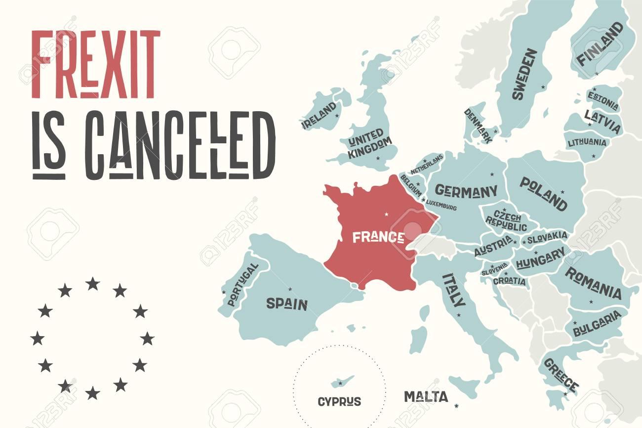 Frexit Est Annulé. Carte D'affiche De L'union Européenne Avec Les Noms De  Pays Et La France De Couleur Rouge. Imprimer La Carte De L'ue Pour Les intérieur Carte D Europe À Imprimer