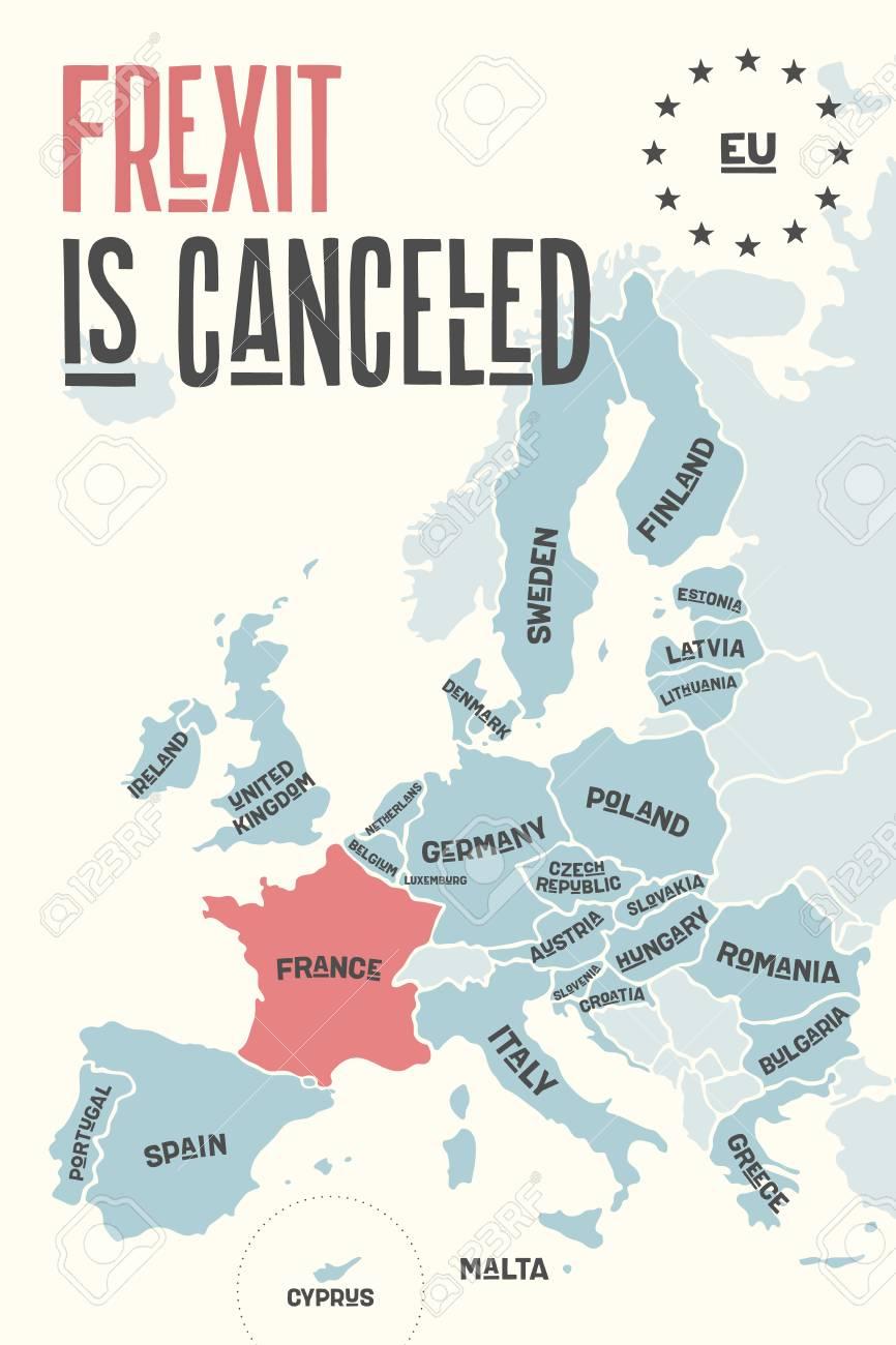 Frexit Est Annulé. Carte D'affiche De L'union Européenne Avec Les Noms De  Pays Et La France De Couleur Rouge. Imprimer La Carte De L'ue Pour Les serapportantà Carte D Europe À Imprimer