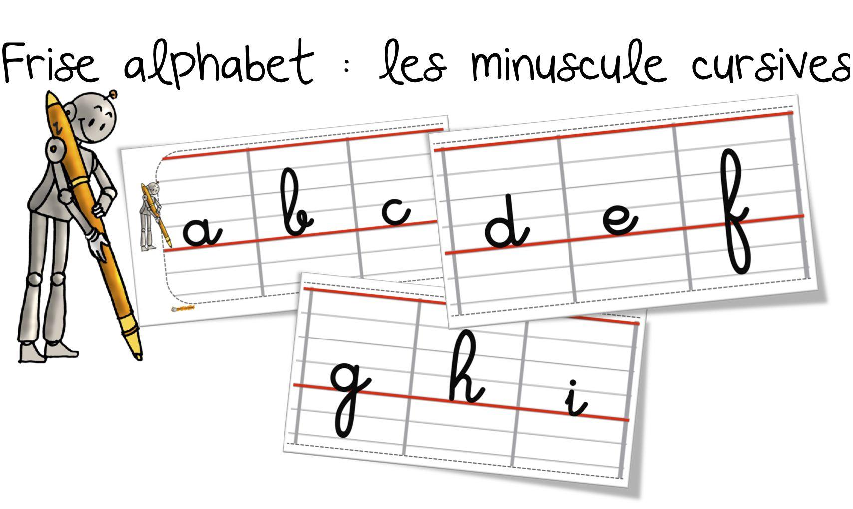 Frise De L'alphabet Des Minuscules En Cursif | Bout De Gomme avec Alphabet Majuscule Et Minuscule