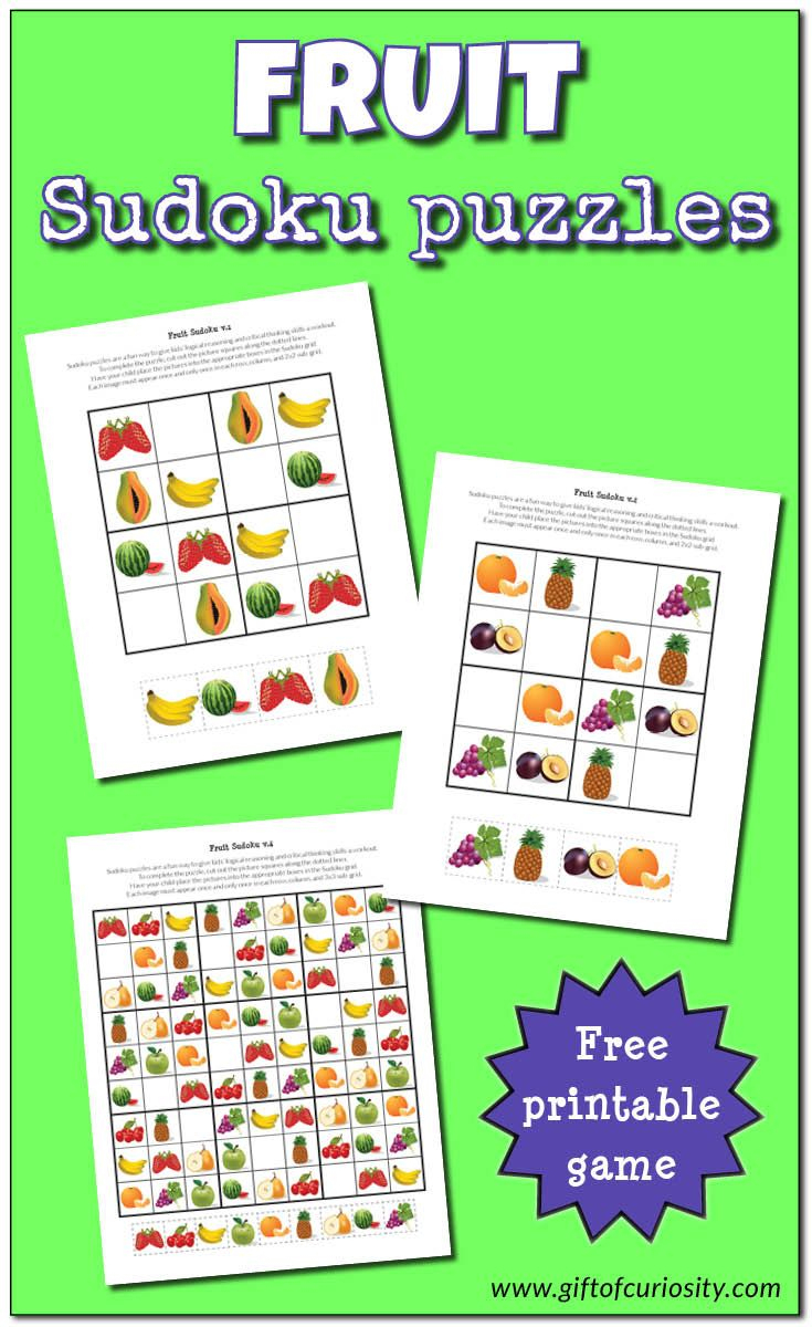 Fruit Sudoku Puzzles {Free Printables} | Matematik encequiconcerne Sudoku A Imprimer