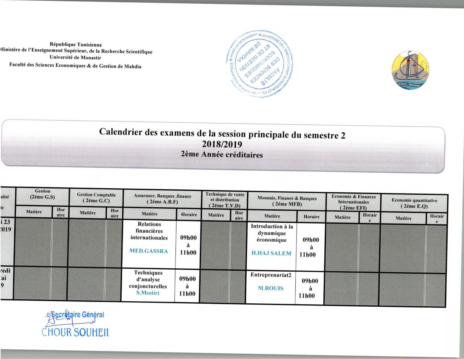 Fsegma - Calendrier Des Examens De La Session Principale tout Calendrier 2Ème Semestre 2018