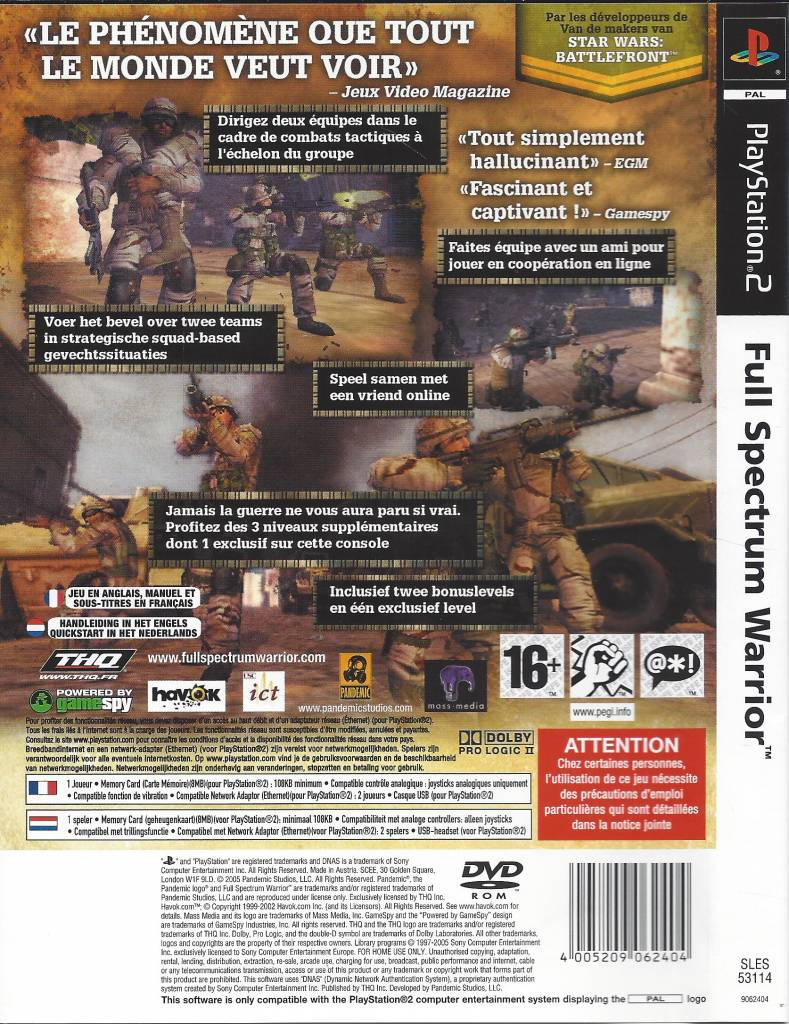 Full Spectrum Warrior For Playstation 2 Ps2 - Passion For avec Jeu Memory En Ligne