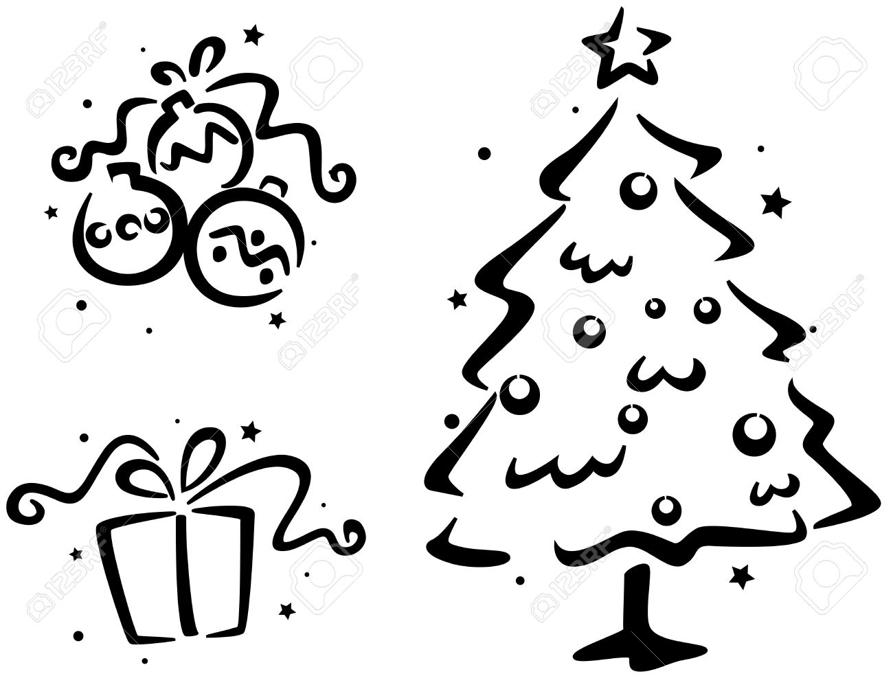 Gabarit De Noël Avec Un Arbre De Noël, Un Cadeau De Noël Et Des Boules De  Noël serapportantà Gabarit Sapin De Noel