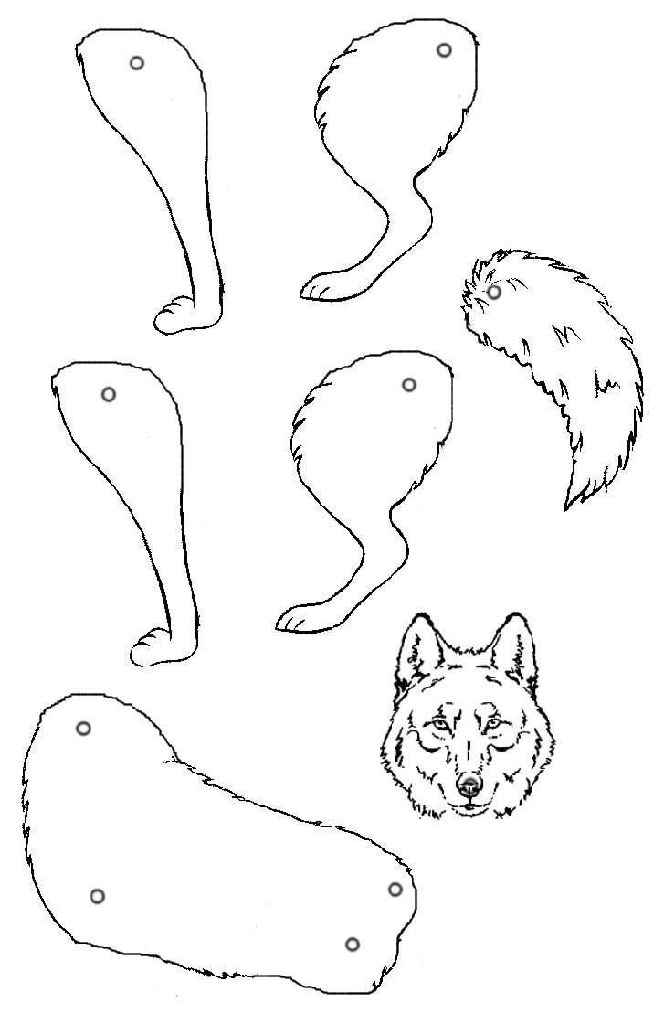 Gabarit Loup Pour Faire Un Pantin Articulé En Ms-Gs encequiconcerne Pantins Articulés À Imprimer