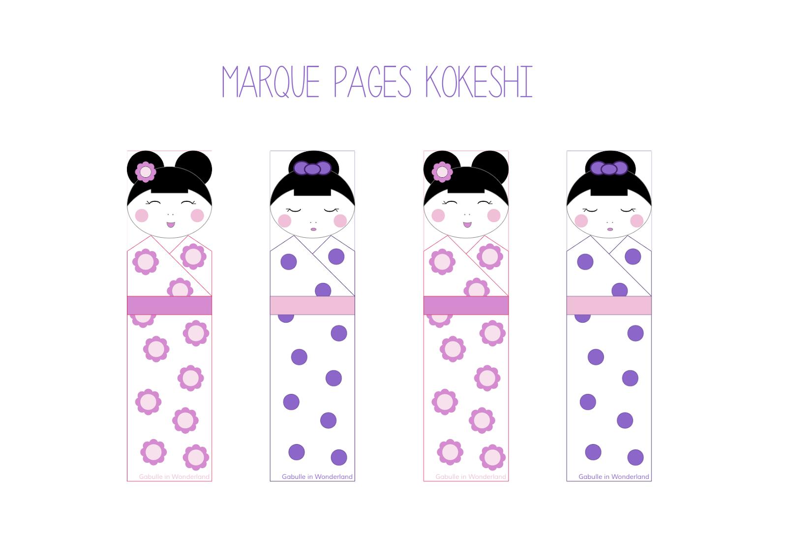 Gabulle In Wonderland: Marque Pages Kokeshi À Imprimer encequiconcerne Marque Page Gratuit À Imprimer