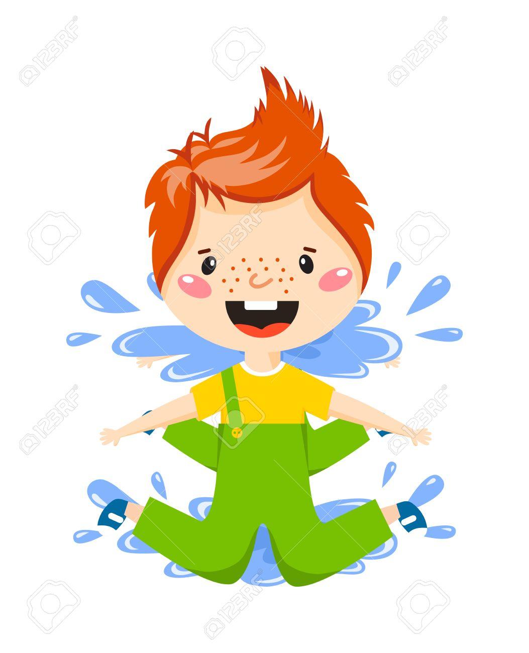 Garçon Espiègle Sauter Dans Flaque D'eau Sur Automne Pluvieux Vecteur  Illustration Jour. Boy In Flaque Fun Enfant Eau De Pluie Et Le Garçon En  Flaque destiné Jeux De Saut Dans L Eau