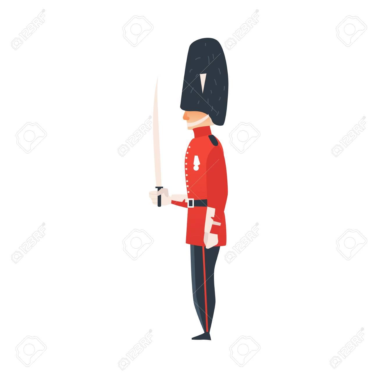 Garde De Reine De Dessin Animé De Vecteur. Homme En Anglais Traditionnel,  Britannique Royaume-Uni Angleterre Rouge Uniforme, Arme De Tenue De Soldat. dedans Dessin De Angleterre