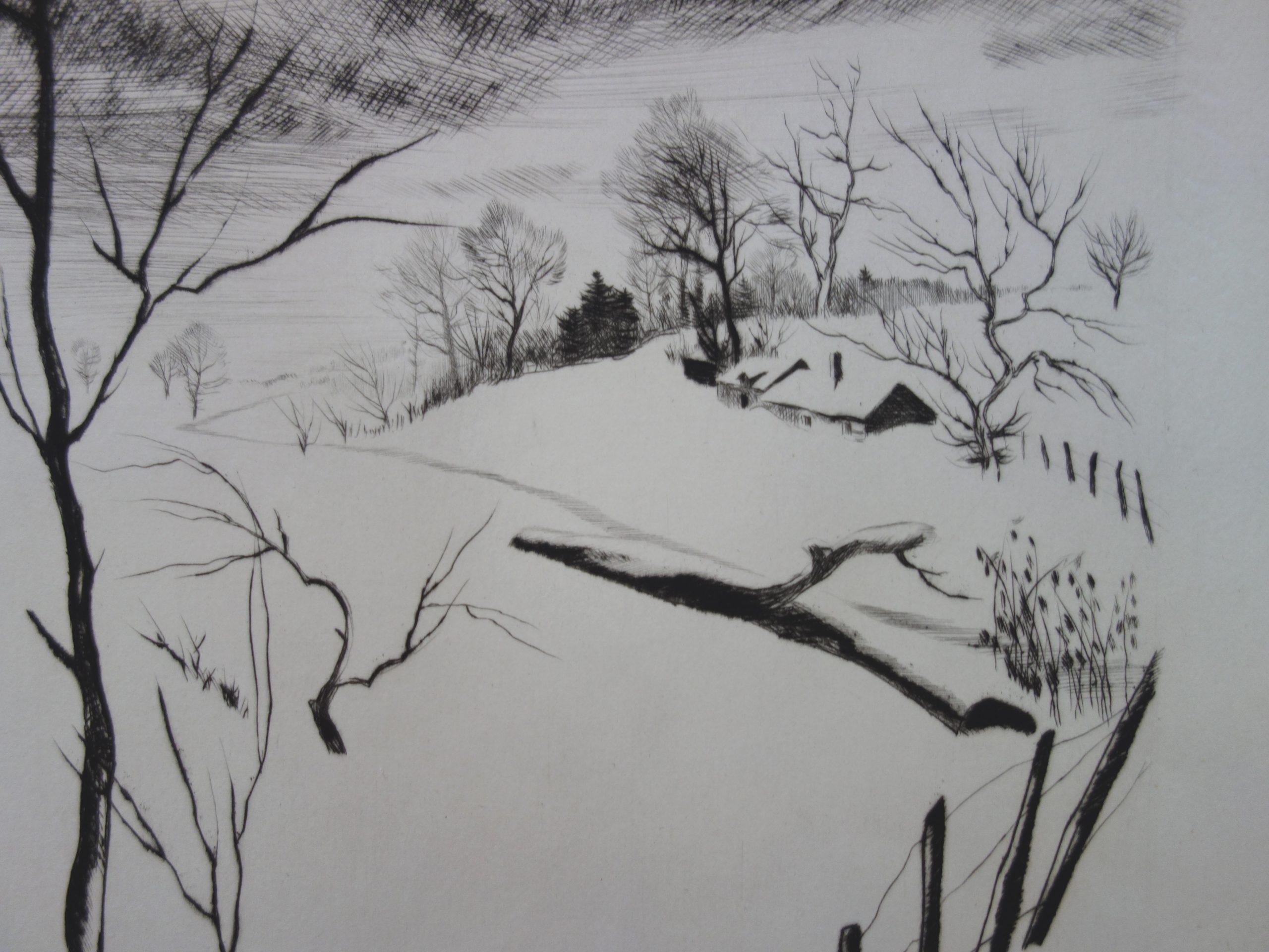 Gaston Barret - Paysage D'hiver, Dessin Original Et Gravure concernant Dessin De Paysage D Hiver