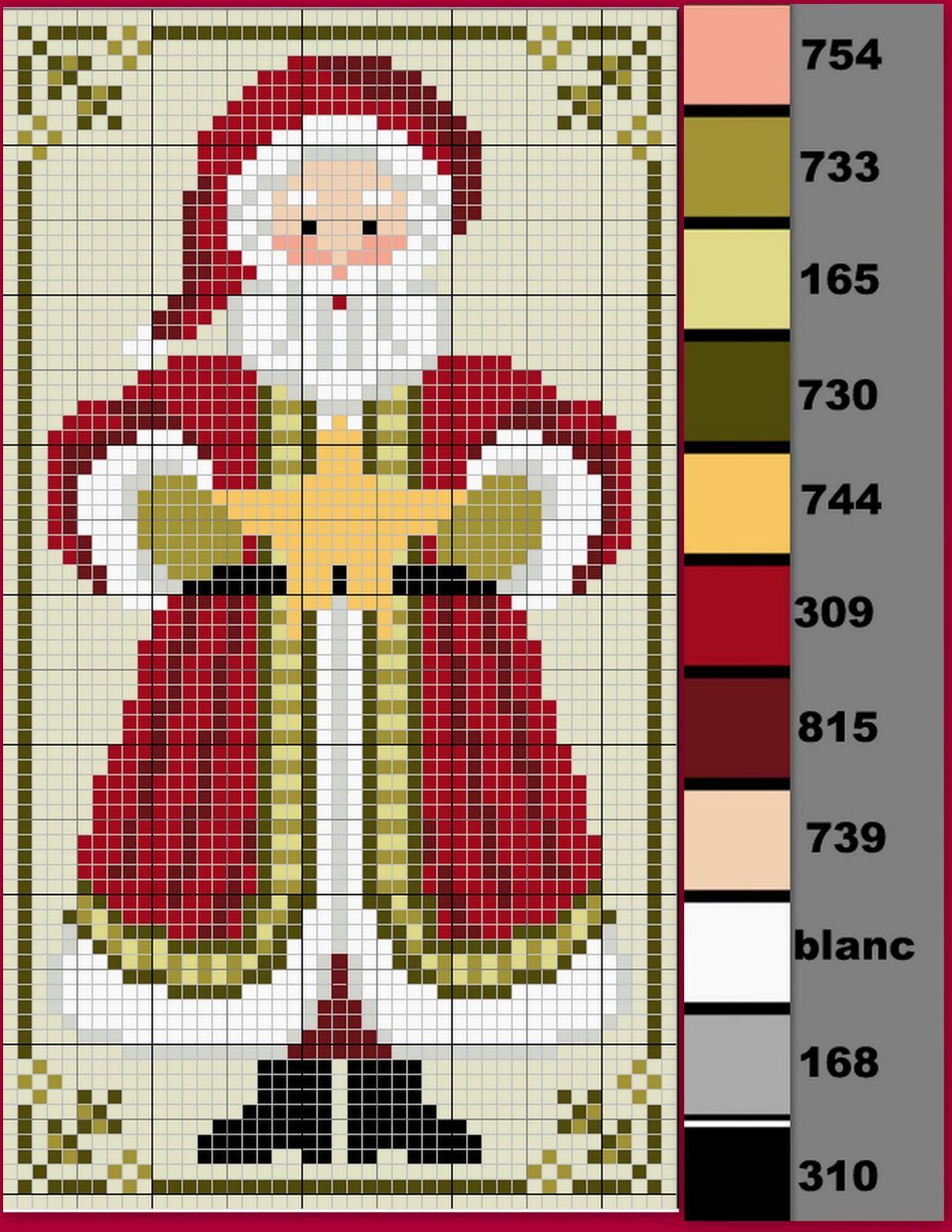 Gazette94: Pere Noel 2012 | Cross Stitch Patterns, Cross pour Pixel Art Pere Noel