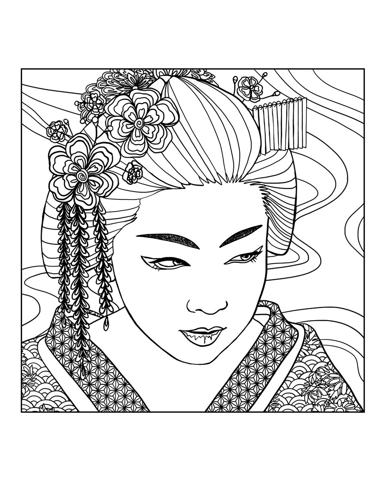 Geisha Visage - Japon - Coloriages Difficiles Pour Adultes avec Visage À Colorier