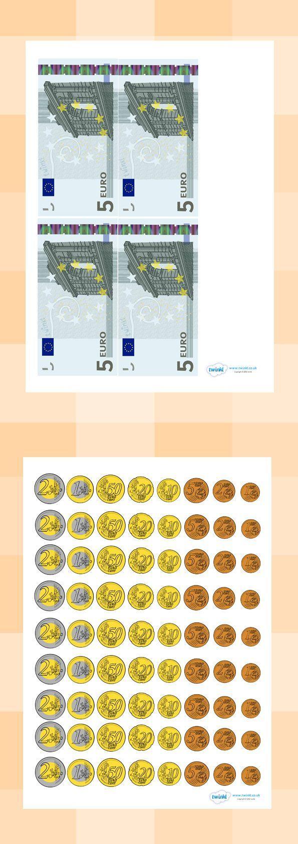 Geld Voor Kleuters | Geld, Geld Werkbladen, Wiskunde serapportantà Billets Et Pièces En Euros À Imprimer