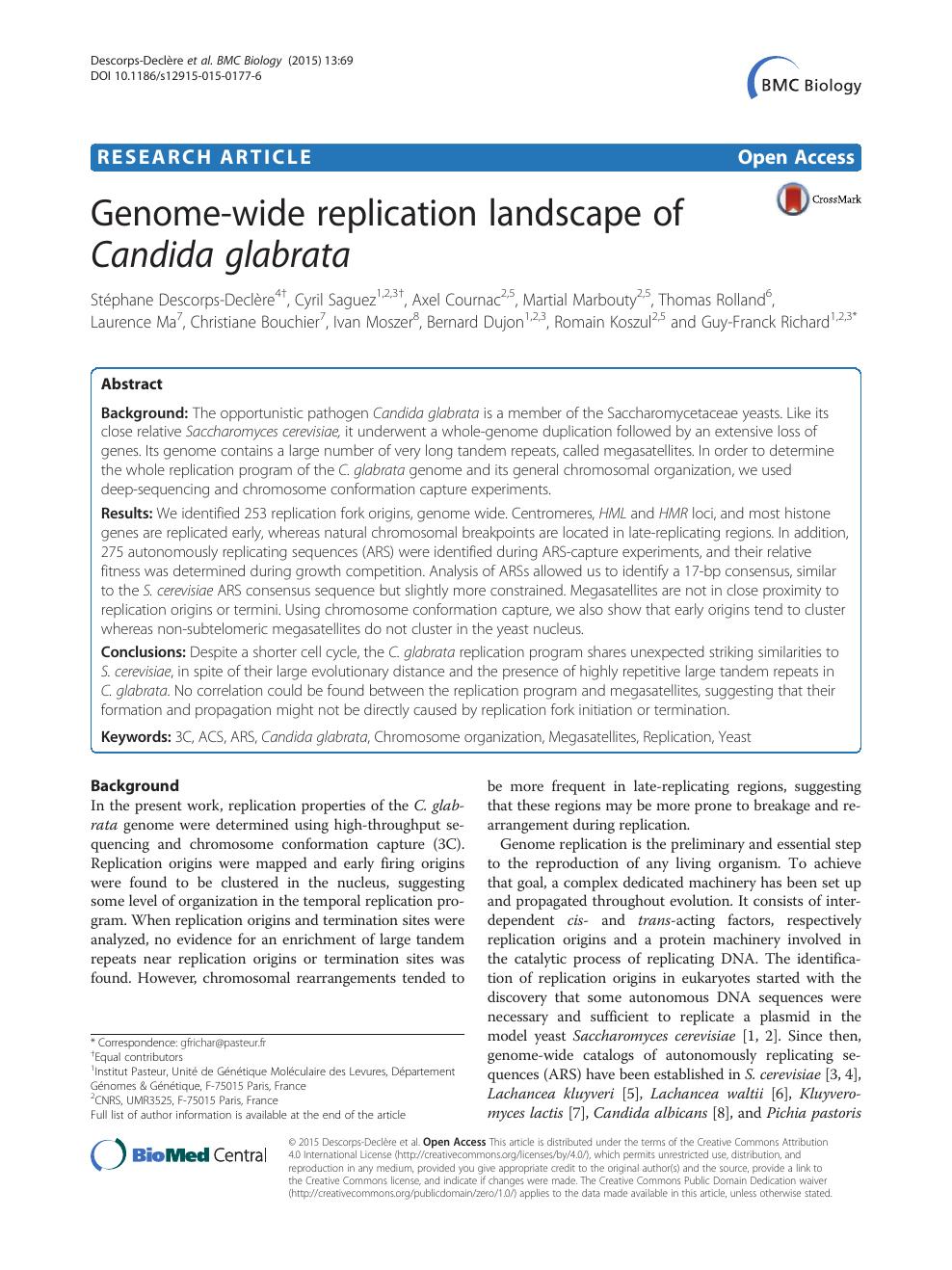 Genome-Wide Replication Landscape Of Candida Glabrata tout Liste De Departement De France