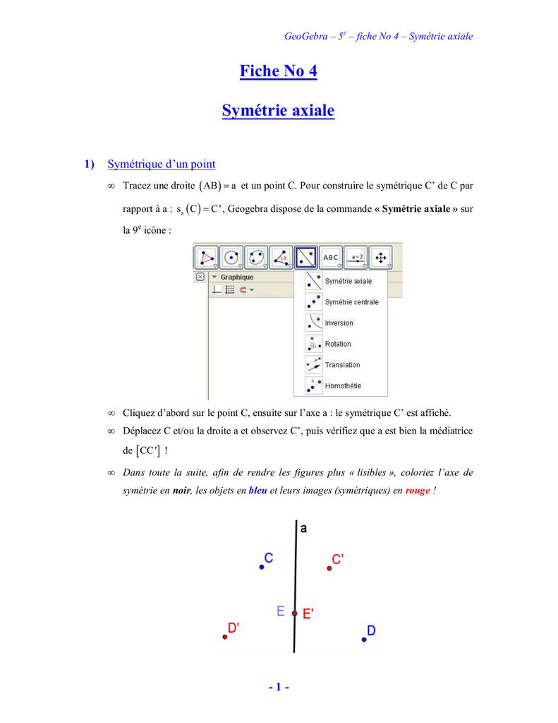 Geogebra-Fiche No 4 Symetrie Axiale destiné Symetrie Axial