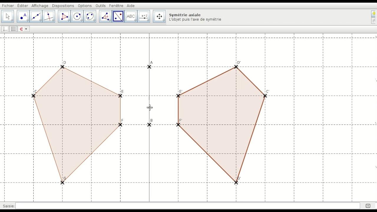 Geogebra Tuto Sym Axiale intérieur Symétrie Quadrillage