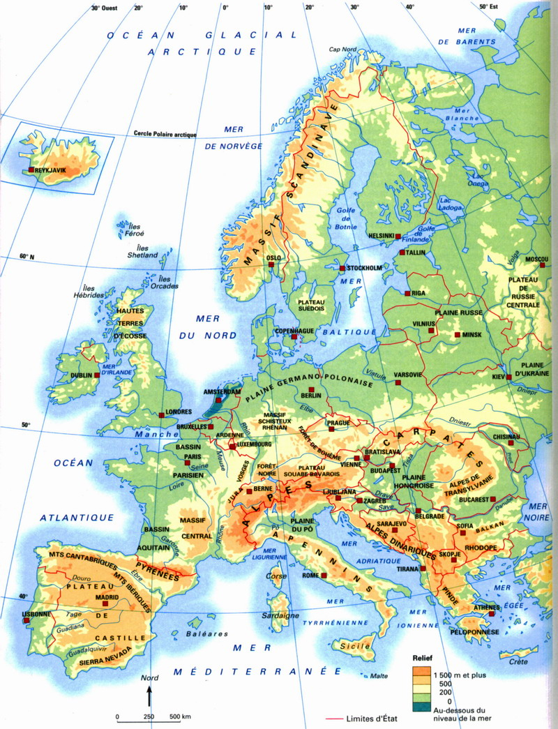 Géographie Cm1 Séquence 2 : Les Frontières De La France Et à Carte Géographique Europe