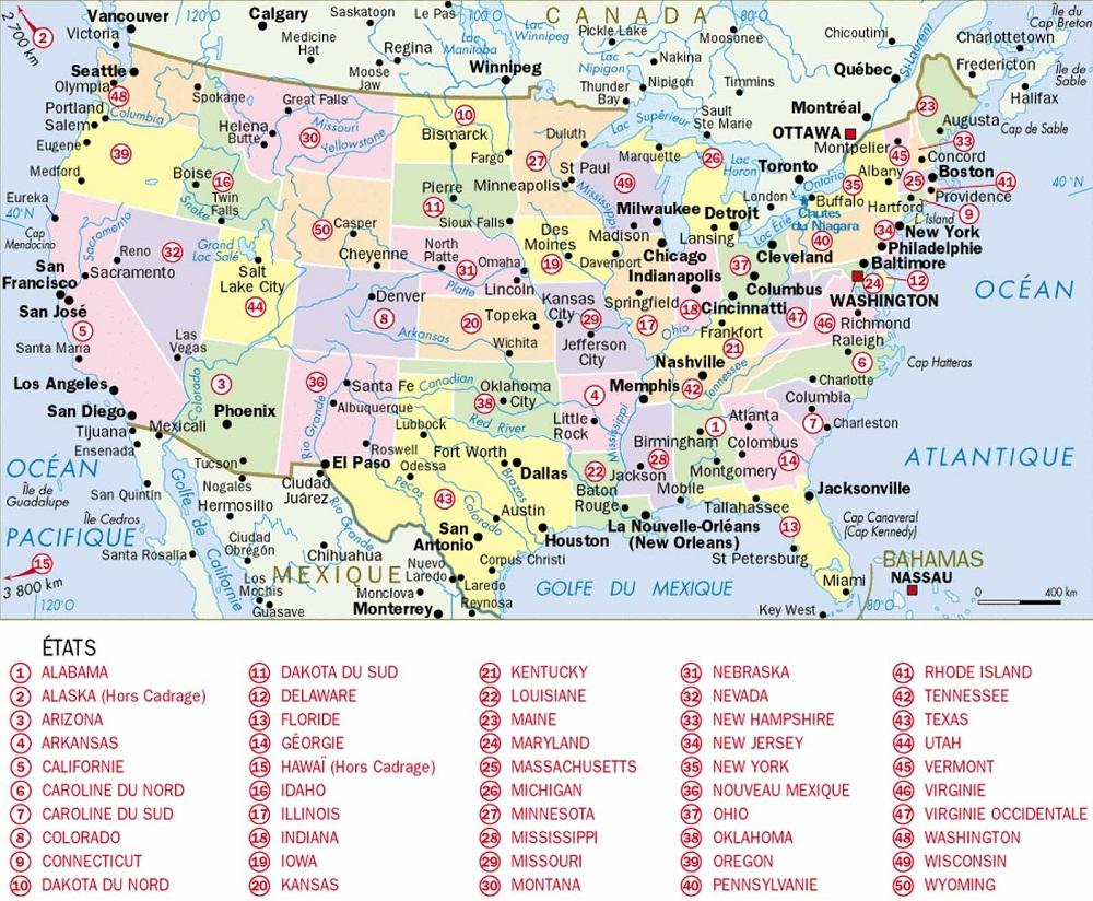 Géographie Des Etats-Unis D' Amérique pour Carte Des Etats Unis À Imprimer