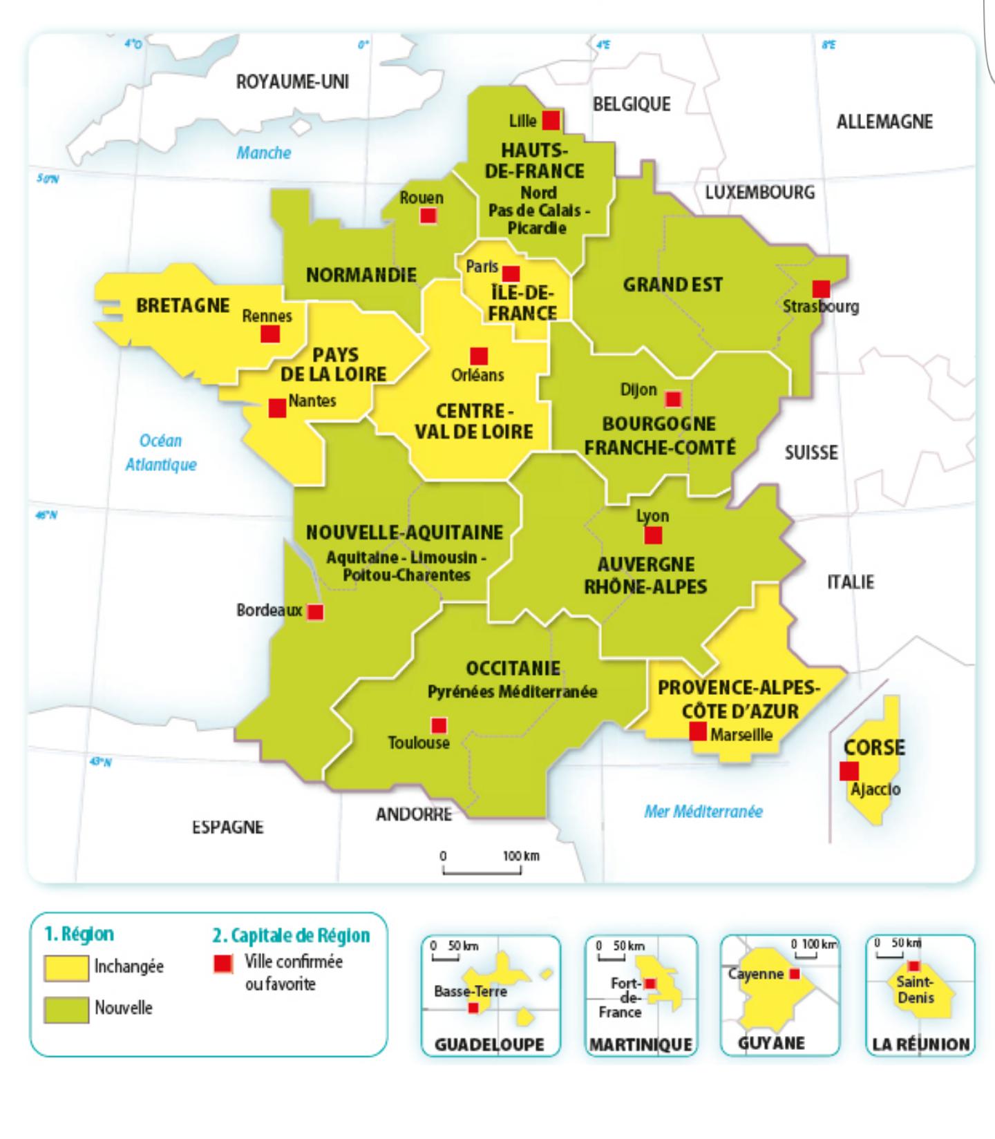 Géographie Première 📰 : La Carte Des Noms Des 13 encequiconcerne Carte Des 13 Régions